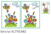 Пчела над цветами. Стоковая иллюстрация, иллюстратор Типляшина Евгения / Фотобанк Лори