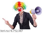 Купить «Businesswoman clown with loudspeaker isolated on white», фото № 6712347, снято 15 ноября 2013 г. (c) Elnur / Фотобанк Лори