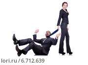 Купить «Office conflict between man and woman isolated on white», фото № 6712639, снято 8 декабря 2012 г. (c) Elnur / Фотобанк Лори
