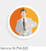 Купить «Круглая иконка с химиком и пробирками», иллюстрация № 6714323 (c) Maryna Bolsunova / Фотобанк Лори