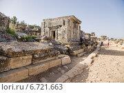 Купить «Иераполис (Памуккале), Турция. Античный склеп в некрополе, II в. до н.э.  - XV в. н. э», фото № 6721663, снято 27 июня 2014 г. (c) Rokhin Valery / Фотобанк Лори