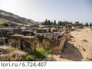 Купить «Иераполис, Турция. Саркофаги и руины склепов в античном некрополе, II в. до н.э.  - XV в. н. э», фото № 6724407, снято 27 июня 2014 г. (c) Rokhin Valery / Фотобанк Лори