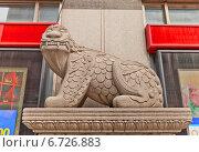 Купить «Скульптура мифического существа Haechi на улице в Сеуле, Южная Корея», фото № 6726883, снято 28 сентября 2014 г. (c) Иван Марчук / Фотобанк Лори