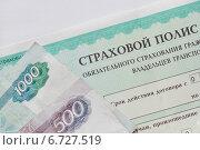 Купить «Страховой полис ОСАГО  и рублевые банкноты», фото № 6727519, снято 29 ноября 2014 г. (c) Victoria Demidova / Фотобанк Лори