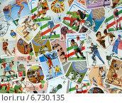 Купить «Фон из почтовых марок Кубы (XX в.), объединенных темой Спорт», эксклюзивная иллюстрация № 6730135 (c) Иван Марчук / Фотобанк Лори