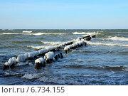 Купить «Обледеневший волнорез», фото № 6734155, снято 21 января 2014 г. (c) Сергей Трофименко / Фотобанк Лори