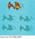 Найдите  правильную тень от рыбы. Стоковая иллюстрация, иллюстратор Типляшина Евгения / Фотобанк Лори