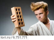 Купить «Funny karate fighter with clay brick», фото № 6751771, снято 21 августа 2014 г. (c) Elnur / Фотобанк Лори