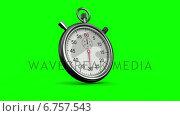 Stopwatch on green background. Стоковое видео, агентство Wavebreak Media / Фотобанк Лори