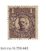 Купить «Почтовая марка Швеции с портретом короля Густава V. 1910 год», иллюстрация № 6759443 (c) Евгений Ткачёв / Фотобанк Лори