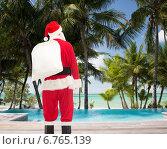 Купить «man in costume of santa claus with bag», фото № 6765139, снято 10 сентября 2014 г. (c) Syda Productions / Фотобанк Лори
