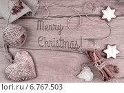 """Рамка с украшениями и надписью  """"Merry Christmas"""" Стоковое фото, фотограф Аnna Ivanova / Фотобанк Лори"""