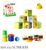 Купить «Коллекция игрушек для маленьких детей, изолированно на белом фоне», фото № 6768839, снято 22 сентября 2018 г. (c) Йомка / Фотобанк Лори