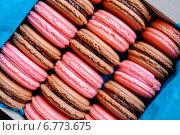 Купить «Tasty macaroons in a box», фото № 6773675, снято 30 ноября 2014 г. (c) Andrejs Pidjass / Фотобанк Лори