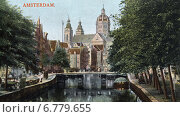 Купить «Вид на канал Voorburgwal в сторону церкви Святого Николая. Амстердам», фото № 6779655, снято 26 мая 2019 г. (c) Юрий Кобзев / Фотобанк Лори