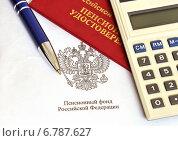Купить «Пенсионное удостоверение, авторучка и калькулятор», эксклюзивное фото № 6787627, снято 10 декабря 2014 г. (c) Юрий Морозов / Фотобанк Лори
