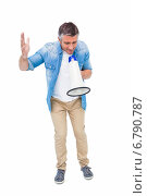 Купить «Man in casual clothes speaking on megaphone», фото № 6790787, снято 12 июня 2014 г. (c) Wavebreak Media / Фотобанк Лори