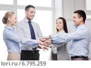 Купить «business team celebrating victory in office», фото № 6795259, снято 5 апреля 2014 г. (c) Syda Productions / Фотобанк Лори