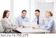 Купить «smiling business team having discussion in office», фото № 6795275, снято 5 апреля 2014 г. (c) Syda Productions / Фотобанк Лори