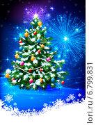 Купить «Рождественская сверкающая ёлка в снегу на фоне фейерверка», эксклюзивная иллюстрация № 6799831 (c) Александр Павлов / Фотобанк Лори