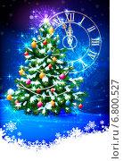 Купить «Рождественская сверкающая ёлка в снегу, новогоднее время на часах и фейерверк», эксклюзивная иллюстрация № 6800527 (c) Александр Павлов / Фотобанк Лори