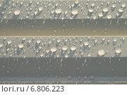 Капли воды на бежевом метеллическом сайдинге корабельная доска. Стоковое фото, фотограф Анна Пикунова / Фотобанк Лори
