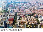 Купить «Aerial view of Mediterranean city. Barcelona, Spain», фото № 6810499, снято 1 августа 2014 г. (c) Яков Филимонов / Фотобанк Лори