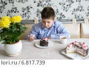 Купить «Мальчик-подросток ест вкусный торт, сидя за столом на кухне», фото № 6817739, снято 18 декабря 2014 г. (c) Володина Ольга / Фотобанк Лори