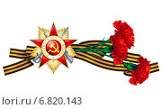Купить «Орден Отечественной войны и три гвоздики на георгиевской ленте», эксклюзивная иллюстрация № 6820143 (c) Александр Павлов / Фотобанк Лори