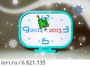 Механические новогодние часы со стрелками в виде елок. Стоковая иллюстрация, иллюстратор Кононенко Александр / Фотобанк Лори