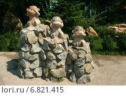 Купить «Парковая скульптура. Три обезьяны. Ничего не вижу, ничего не слышу, ничего не скажу», эксклюзивное фото № 6821415, снято 16 августа 2013 г. (c) Щеголева Ольга / Фотобанк Лори