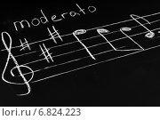 Купить «Музыкальные ноты на доске», фото № 6824223, снято 11 ноября 2014 г. (c) Сергей Лабутин / Фотобанк Лори