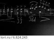 Купить «Музыкальные ноты на черной доске», фото № 6824243, снято 11 ноября 2014 г. (c) Сергей Лабутин / Фотобанк Лори