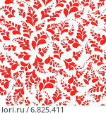 Купить «Бесшовный фон - красные лепестки на белом фоне», иллюстрация № 6825411 (c) Марина / Фотобанк Лори