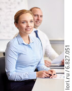 Купить «smiling business people meeting in office», фото № 6827051, снято 25 октября 2014 г. (c) Syda Productions / Фотобанк Лори