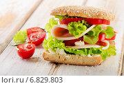 Купить «Sandwich with fresh tomatoes on wooden table», фото № 6829803, снято 5 декабря 2014 г. (c) Tatjana Baibakova / Фотобанк Лори