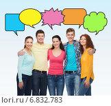 Купить «group of smiling teenagers with text bubbles», фото № 6832783, снято 22 июня 2014 г. (c) Syda Productions / Фотобанк Лори