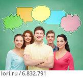 Купить «group of smiling teenagers with text bubbles», фото № 6832791, снято 22 июня 2014 г. (c) Syda Productions / Фотобанк Лори