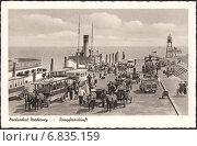 Купить «Погрузка на пароход,остров Нордернай, г.Нордзеебад (Nordseebad Norderney). Почтовая карточка Германии», иллюстрация № 6835159 (c) александр афанасьев / Фотобанк Лори
