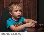 Купить «Маленький мальчик сидит с компьютерной мышкой перед монитором», эксклюзивное фото № 6836091, снято 6 декабря 2014 г. (c) Игорь Низов / Фотобанк Лори