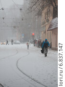 Купить «Метель в городе», фото № 6837147, снято 25 декабря 2014 г. (c) Родион Власов / Фотобанк Лори