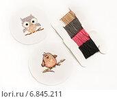 Две птички вышитые крестиком и нитки для вышивания. Стоковое фото, фотограф Dmitry29 / Фотобанк Лори