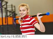 Купить «woman with stick in fitness gym», фото № 6858951, снято 21 октября 2014 г. (c) Дмитрий Калиновский / Фотобанк Лори