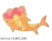 Рыбки-романтики. Стоковая иллюстрация, иллюстратор Виталий Кучинский / Фотобанк Лори