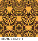Купить «Черно-желтый узорчатый бесшовный фон с сердцами», иллюстрация № 6862611 (c) Николай Забурдаев / Фотобанк Лори