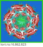 Купить «Декоративная мандала с рыбками», иллюстрация № 6862823 (c) Astronira / Фотобанк Лори