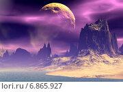 Купить «Чужая планета. Скалы и луна», иллюстрация № 6865927 (c) Parmenov Pavel / Фотобанк Лори