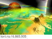Купить «Чужая планета. Скалы и луна», иллюстрация № 6865935 (c) Parmenov Pavel / Фотобанк Лори