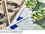Евро и доллары. Стоковое фото, фотограф Сергей Прокопенко / Фотобанк Лори