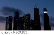 Купить «Бизнес-центр в Москве ночью, таймлапс», видеоролик № 6869875, снято 31 декабря 2014 г. (c) Серёга / Фотобанк Лори